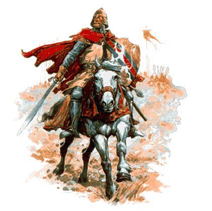 El Cid Campeador cabalgando a lomos de su caballo portando en su mano derecha la espada Tizona del Cid.