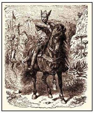 """Rodrigo Díaz de Vivar, """"El Mio Cid"""", en una de sus batallas."""